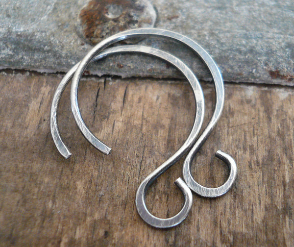 Large Solitude Sterling Silver Earwires - Handmade. Handforged. Oxidized and polished