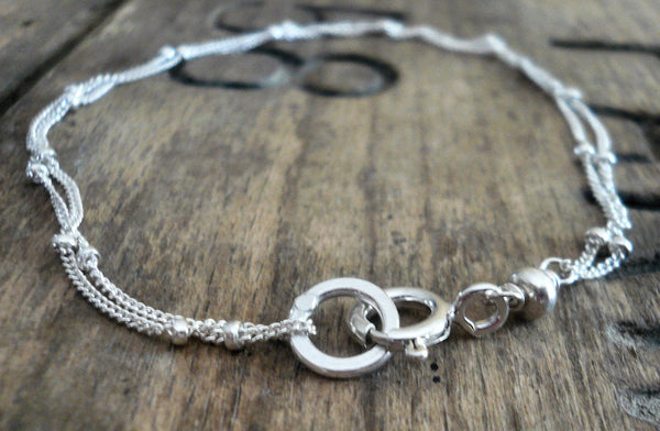 Anklet Design Your Own Series -  2 strand 14kt Goldfill or Sterling Silver Satellite Chain