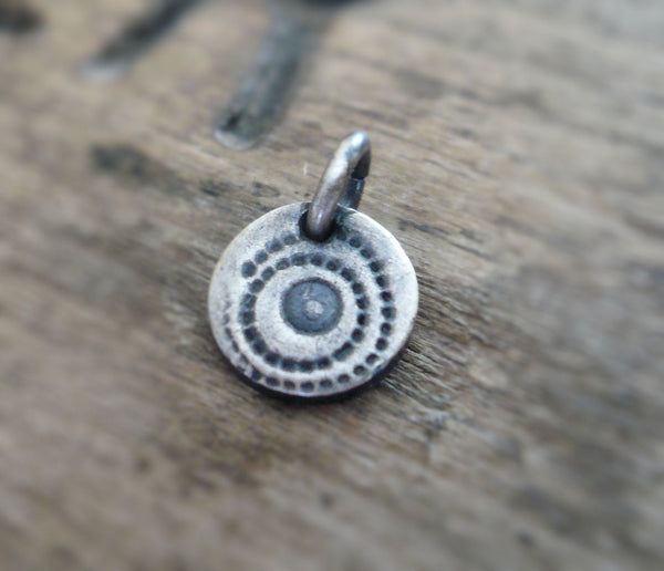 Spore Pendant- Handmade. Oxidized Fine Silver. Design Your Own Series