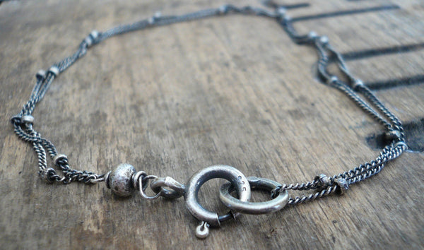 Anklet Design Your Own Series -  2 strand Oxidized Sterling Silver Satellite Chain
