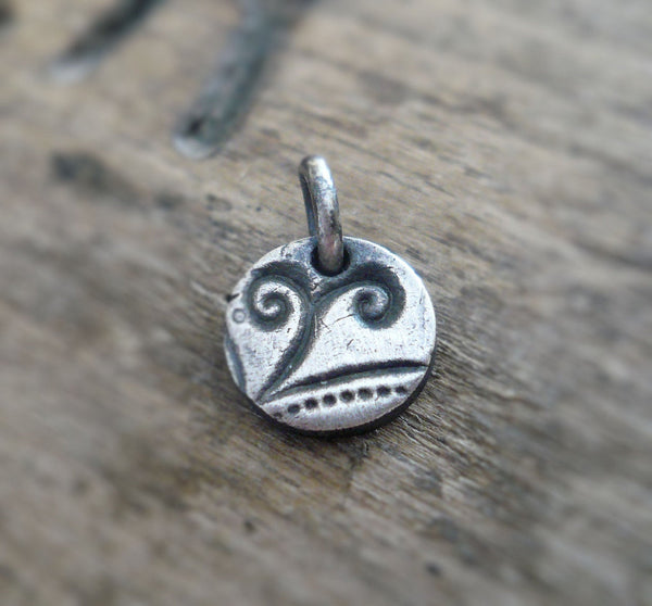 Frond Pendant- Handmade. Oxidized Fine Silver. Design Your Own Series