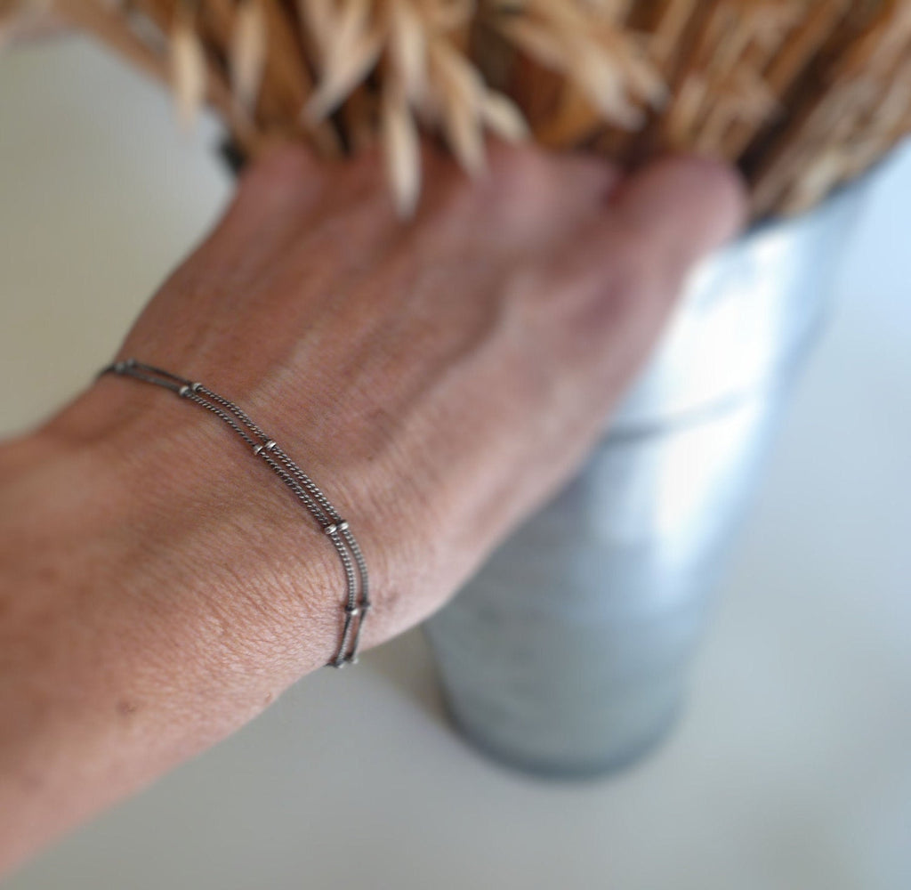 Bracelet Design Your Own Series -  2 strand Oxidized Sterling Silver Satellite Chain