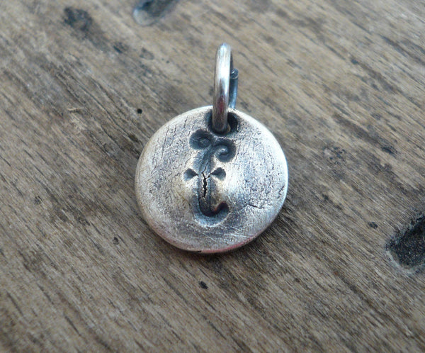 Initial Pendant Lower Case - Handmade. Personalized. Oxidized Fine Silver