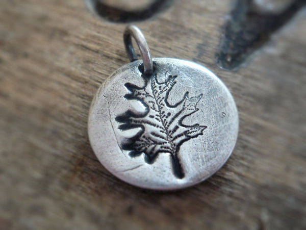 Mighty Oak Pendant- Handmade. Oxidized Fine Silver. Design Your Own Series