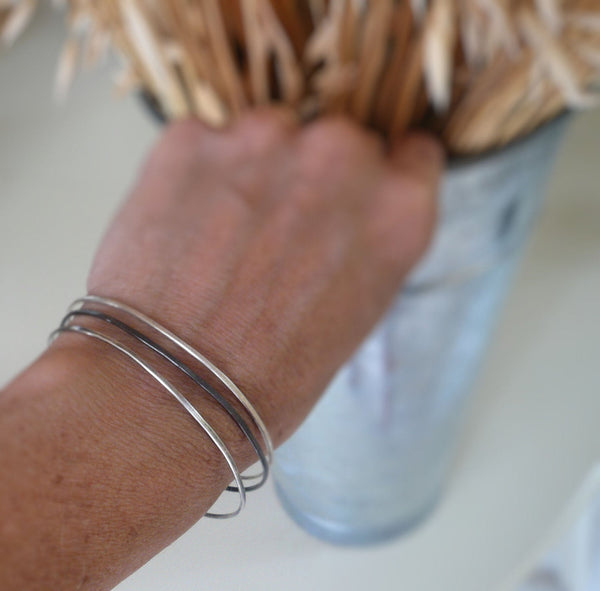 Drift Bangle Bracelet Trio- Handmade. Hammered. Your choice of Finishes. 3 Bangles