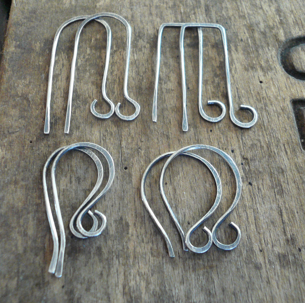 8 Pair Variety Pack Sterling Silver Earwires - Handmade. Handforged. Oxidized and polished