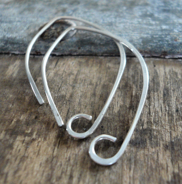 Hint Sterling Silver Earwires - Handmade. Handforged. Shiny Finish