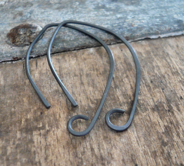 Hint Sterling Silver Earwires - Handmade. Handforged. Heavily Oxidized