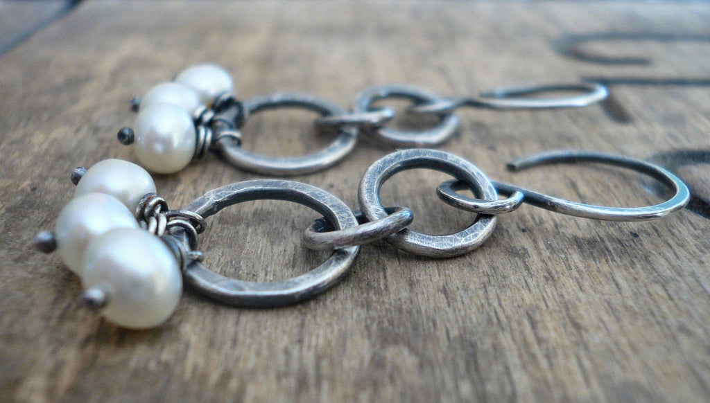 Trinity Earrings. Handmade. Freshwater pearls. Oxidized, hammered sterling silver