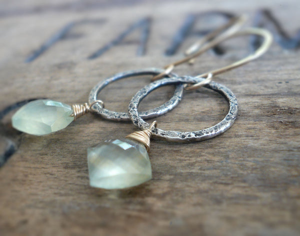 Dichotomy Earrings. Handmade. Prehnite. Textured and oxidized Sterling Silver. 14kt Goldfill