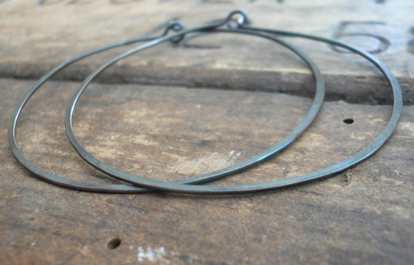 BIG Every Day Hoops - Handmade. Sterling Silver. 2 inch Hoops. Heavily Oxidized