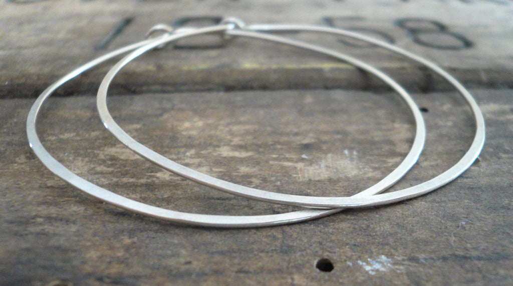 BIG Every Day Hoops - Handmade. Sterling Silver or 14kt Goldfill. 2 inch Hoops