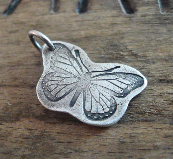 Flutter Pendant - Handmade. Oxidized fine and sterling silver. Summer Fields Collection. Design Your Own Series