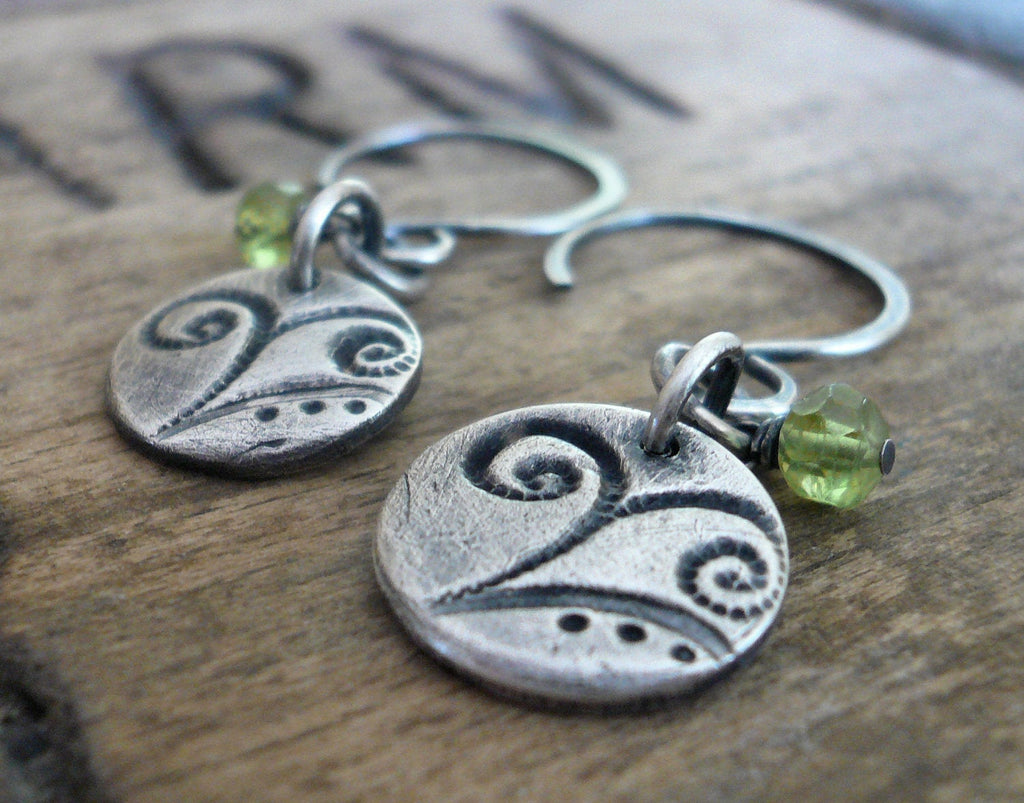 Frond Earrings Flourish Collection - Handmade. Peridot. Oxidized fine and sterling silver
