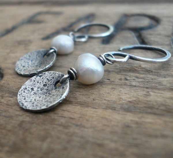 Overcast Earrings - Handmade. Freshwater Pearls. Oxidized, Textured Sterling Silver Dangle Earrings