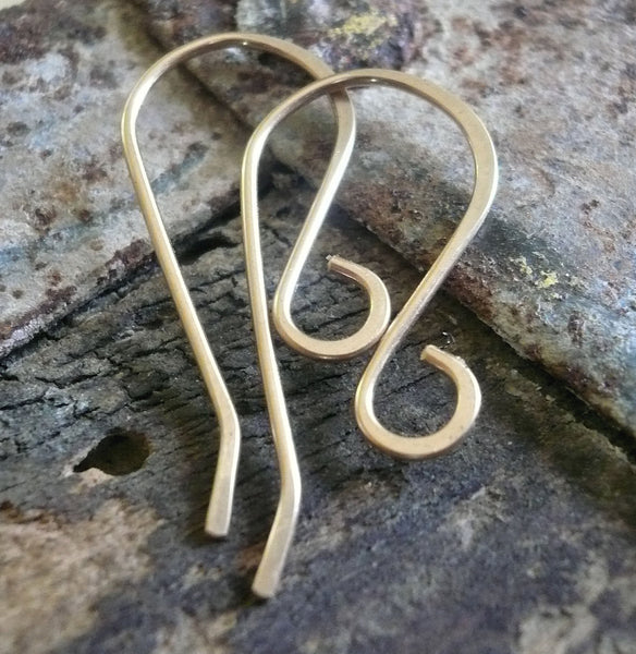 Solitaire 14kt Goldfill Earwires - Handmade. Handforged