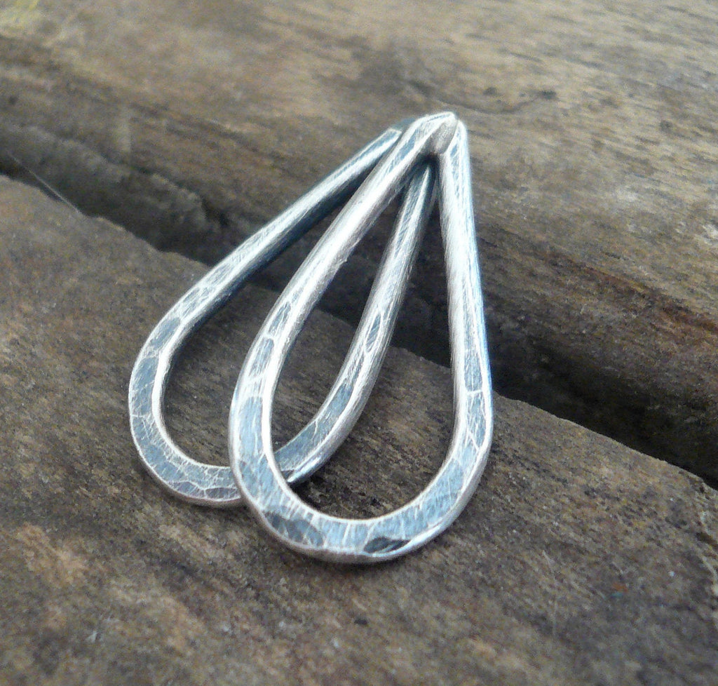 Small Hammered Oxidized Sterling Silver Tear Drops - Handmade. Hand forged. 17mm. 1 pair