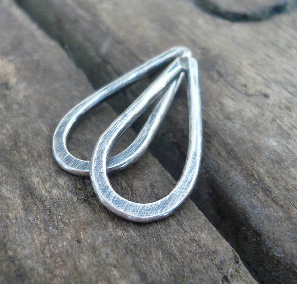 Small Handforged Oxidized Sterling Silver Tear Drops - Handmade. Hand forged. 17mm. 1 pair