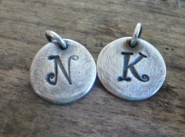 Initial Pendant Upper Case- Handmade. Personalized. Oxidized Fine Silver