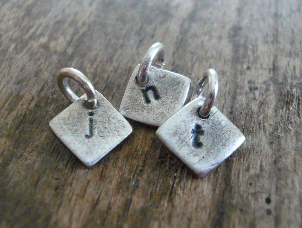 Tiny Diamond Initial Pendants- Handmade. Personalized. Oxidized Fine Silver