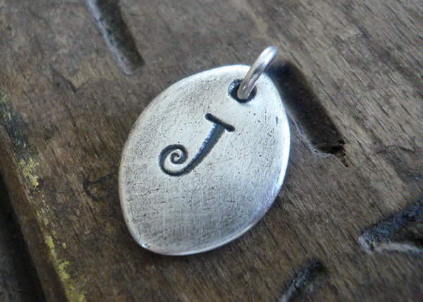 Oval Initial Pendant - Handmade. Personalized. Oxidized Fine Silver