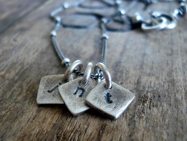 Monogram Necklace - Handmade. Personalized. Oxidized Fine and Sterling Silver