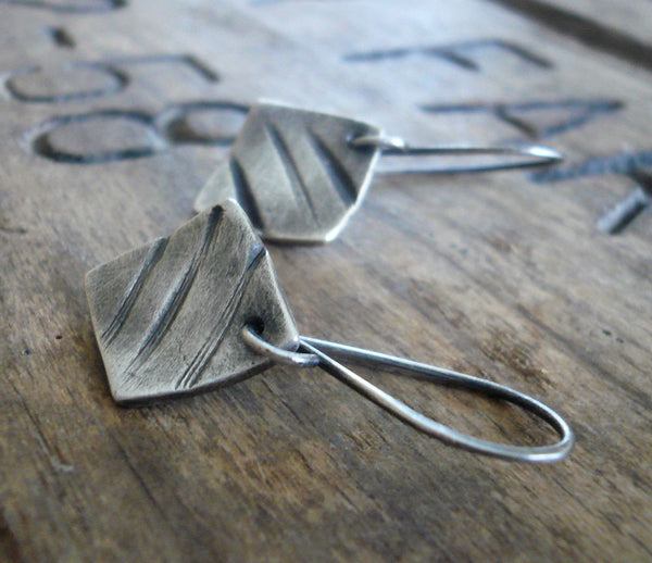 DAILY DEAL Road Less Traveled Earrings - Handmade. Oxidized fine and sterling silver
