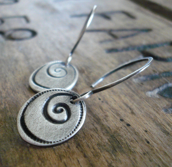 Helix Earrings - Handmade. Oxidized fine and sterling silver