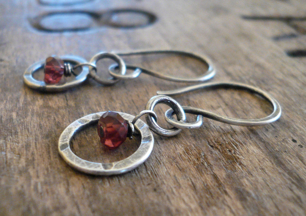 Halo Earrings - Handmade. Gemstones. Oxidized, Hammered Sterling Silver