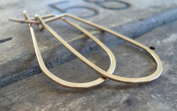 Gold Tear Drop Hoops - Handmade. Hand Forged. 14kt Goldfill