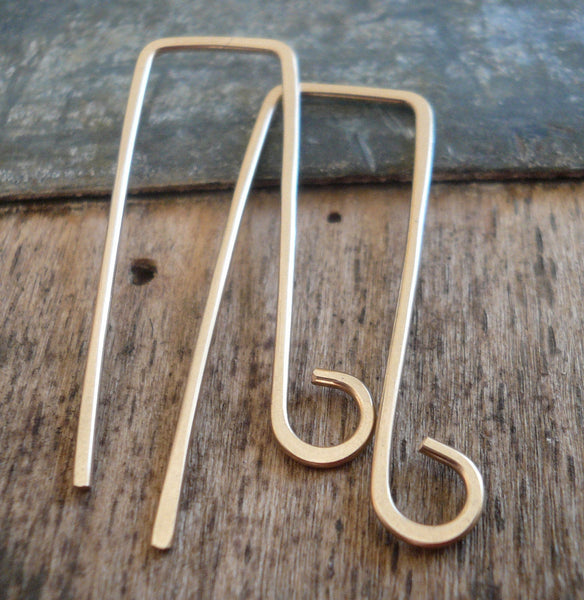 Millstone 14kt Goldfill Earwires - Yellow or Rose Goldfill. Handmade. Handforged