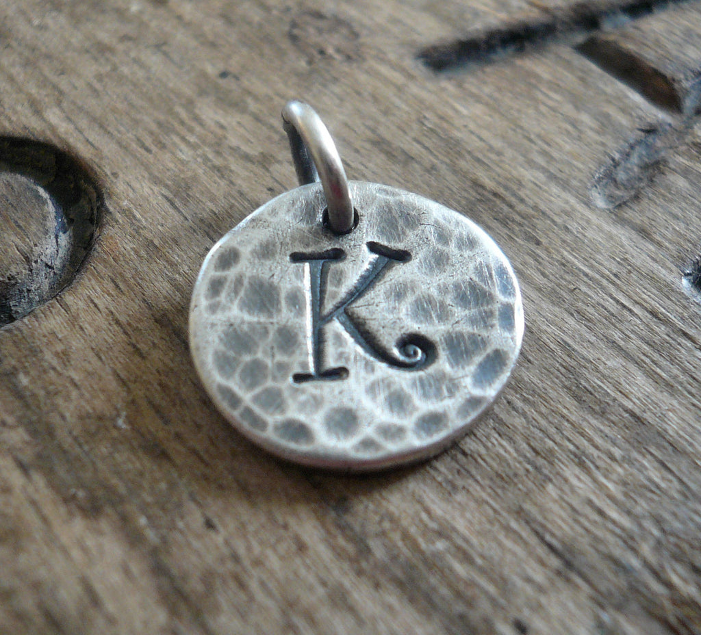 Hammered Initial Pendant Upper Case- Handmade. Personalized. Oxidized Fine Silver