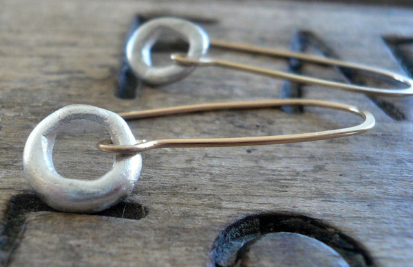 Unity Earrings - Handmade. Mixed Metal. Brushed Fine Silver &14kt Goldfill