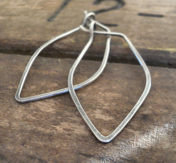 Leaf Hoops - Handmade. Handforged. Oxidized Sterling Silver Hoop Earrings