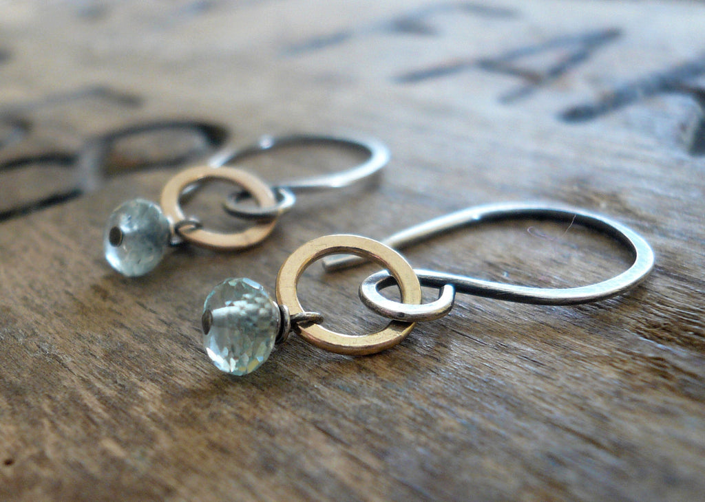 Twinkle Earrings Wonderland Collection - Aquamarine. Oxidized Sterling Silver. 14kt Goldfill dangle earrings. March Birthstone