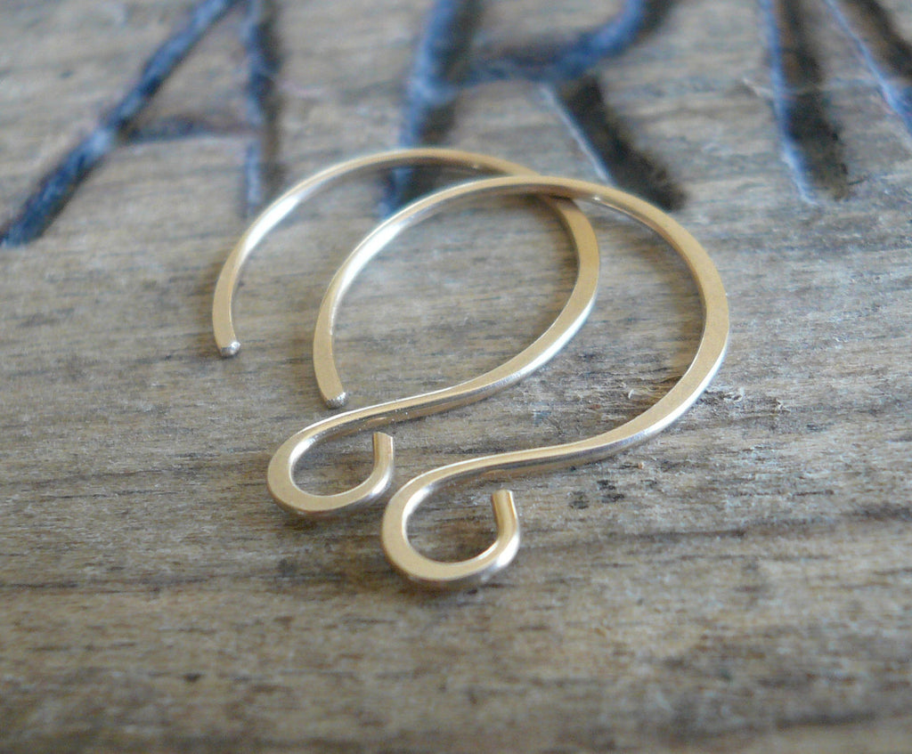 Large Solitude 14kt Goldfill Earwires - Handmade. Handforged