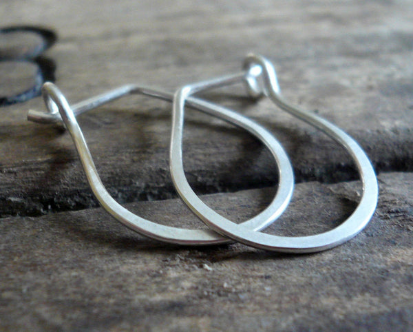 Pony Horseshoe Hoops - Handmade. Hand forged. Sterling Silver or 14kt goldfill Earrings