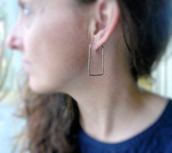 Mangly Rectangles - Textured. Hammered. Oxidized Sterling Silver Hoops