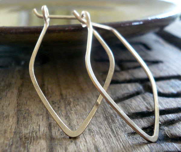 Leaf Hoops - Handmade. Hammered. 14k goldfill hoops