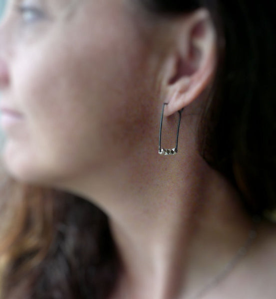 Prospector Earrings - Handmade. Oxidized Sterling and Fine Silver Hoops