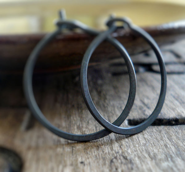 Lil' Every Day Hoops - Handmade. Heavily Oxidized Sterling Silver