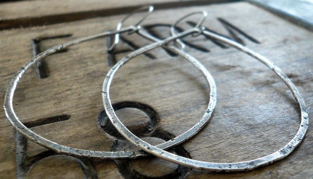 Tattered Tears - Handmade. Oxidized, textured sterling silver Earrings