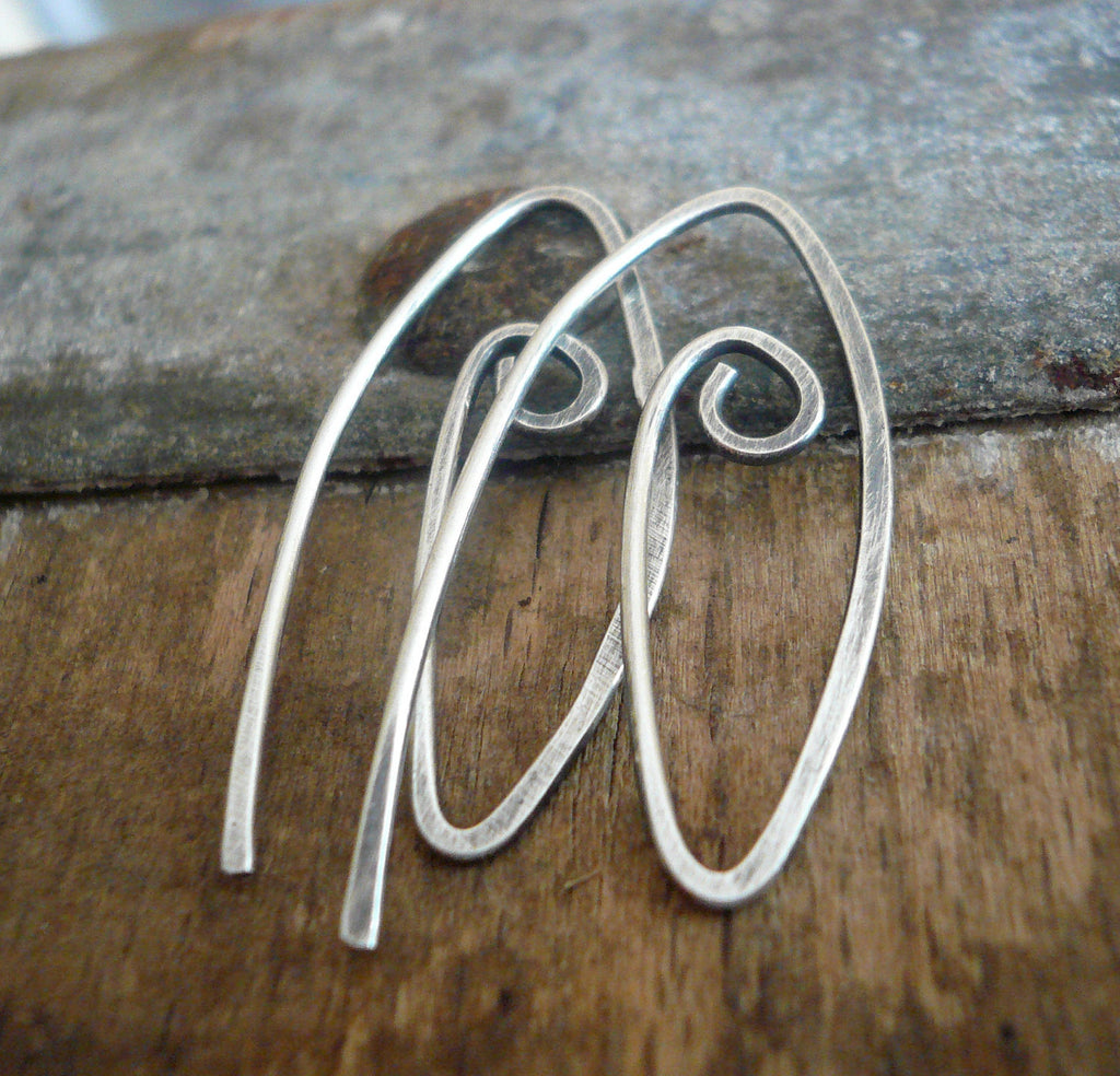 Furl Sterling Silver Earwires - Handmade. Handforged. Oxidized & polished