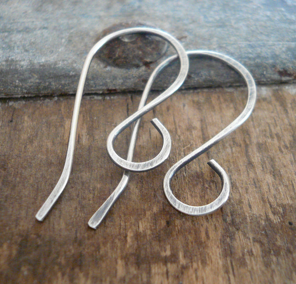 Large Loop Solitaire Sterling Silver Earwires - Handmade. Handforged. Oxidized & Polished