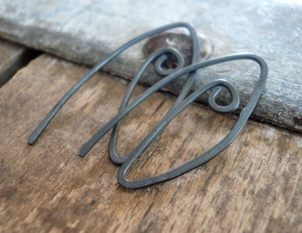 Furl Sterling Silver Earwires - Handmade. Handforged. Heavily Oxidized