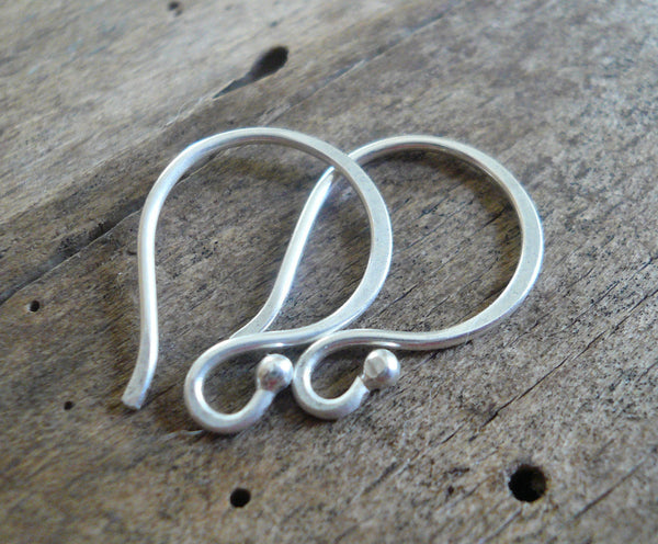 Ball End Twinkle Fine Silver Earwires - Handmade. Handforged