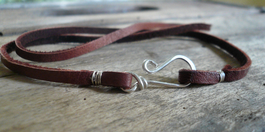 Design Your Own Necklace - 5 colors. Handmade. Sterling Silver handforged clasp. Leather
