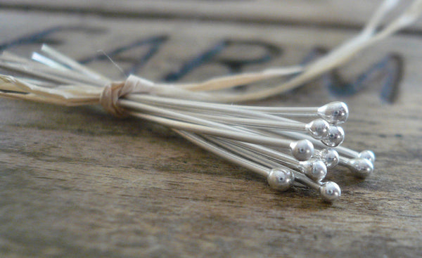 "10 3"" Fine Silver 26 GAUGE Handmade Ball Headpins - 3 inches."