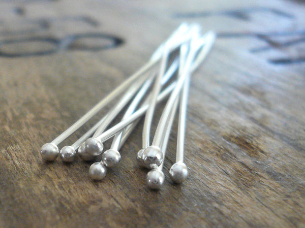 "10 2"" Fine Silver 26 GAUGE Handmade Ball Headpins - 2 inches. Heavily Oxidized"