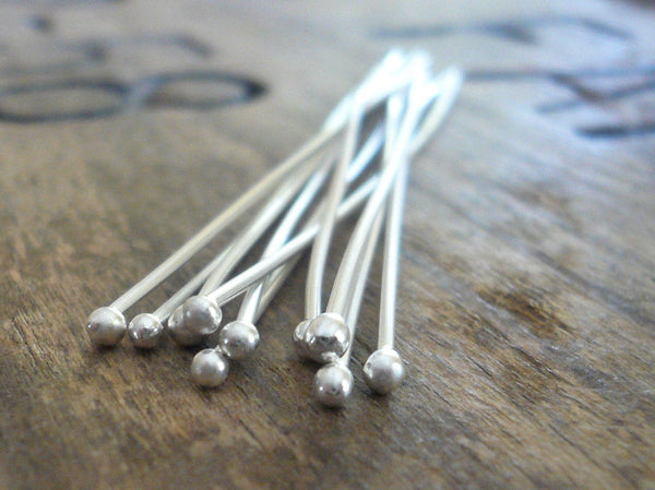 "10 3"" Fine Silver 24 GAUGE Handmade Ball Headpins - 3 inches. Heavily Oxidized"